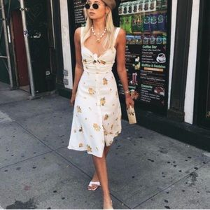 🌿 NWT Reformation sexy yellow floral cutout dress